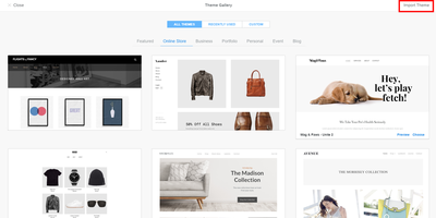 Weebly Standard Theme Store
